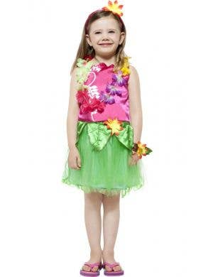 Girl's Pink and Green Hawaiian Costume Front View