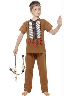 e32e6a1cfba94 Boys Native American Indian Warrior Fancy Dress Costume Front ...
