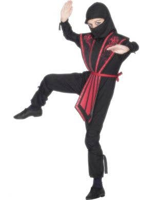 Boy's Ninja Black and Red Budget Japanese Costume Front