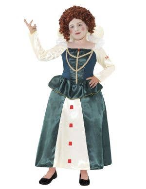 English Queen Elizabeth Girl's Medieval Costume Front View