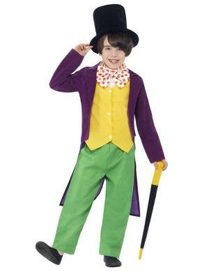 Boys Willy Wonka Fancy Dress Costume Front View