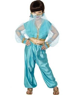 Girl's Blue Princess Jasmine Arabian Costume Front View