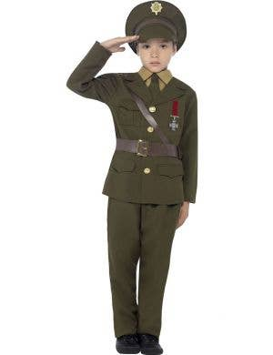 Boys 1940's Army Fancy Dress Costume Front View