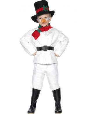 Boys Snowman Festive Christmas Costume Front Image