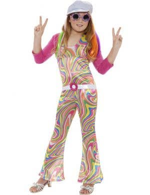 Girl's Retro Pop Star Costume Front View