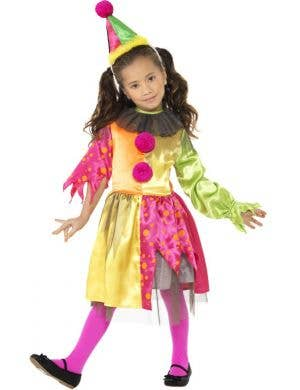 Pink and Yellow Girl's Clown Costume Front View