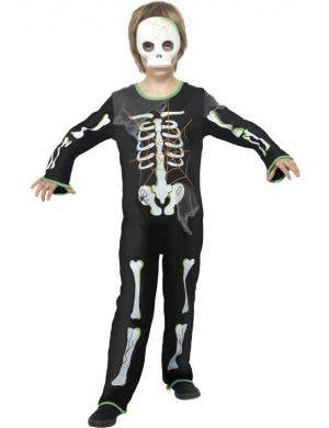 Boys' Skeleton Black and White Halloween Costume Front View