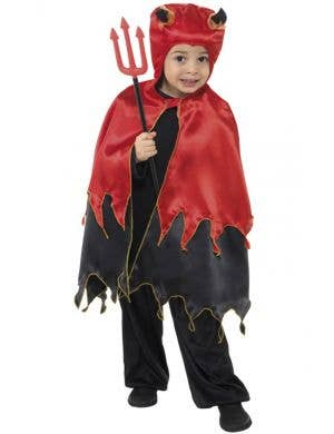 Little Devil Boy's Red and Black Demon Costume with Cape Front