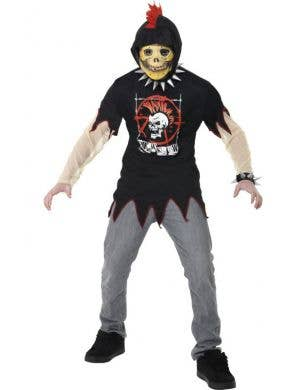 Boy's Skeleton Punk Rock Halloween Costume Front View