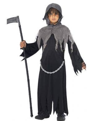 Boy's Grim Reaper Black and Grey Halloween Costume Front