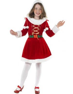 Girl's Red Santa Christmas Costume Front View