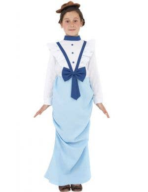 Blue and White Girl's Victorian Lady Costume Front View