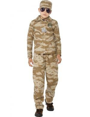 Boys Army Fancy Dress Costume Front View