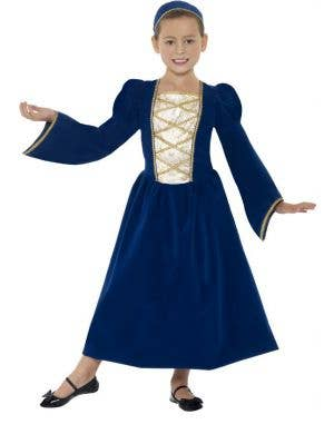 Dark Blue Girl's Medieval Tudor Costume Front View