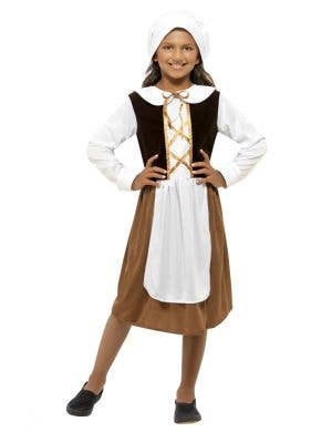 Kids Tudor Girl Fancy Dress Costume Front View