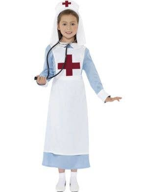 Girl's WWI Nurse Dress Up Costume Front View