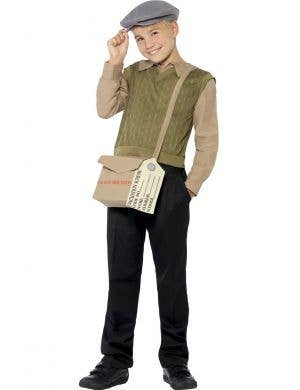 WW2 Evacuee Boys Fancy Dress Costume Front View