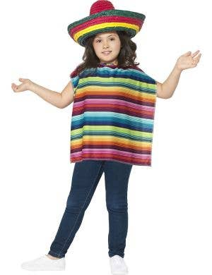 Kids Colourful Mexican Poncho Costume Main Image