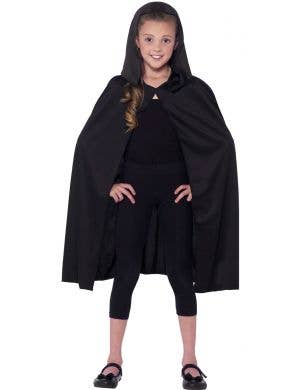 Kids Black Hooded Costume Cape Main Image
