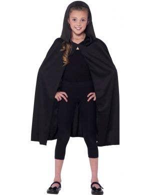 Kids Black Hooded Costume Cape Main Image