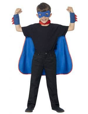Kids Blue Superhero Costume Cape Front View