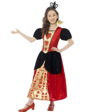 Girls Queen of Hearts Fancy Dress Costume Front View