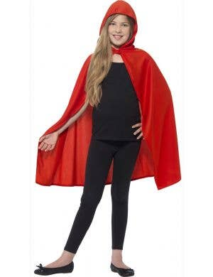 Kids Red Costume Cape with Attached Hood Main Image