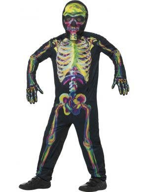 Rainbow Skeleton Boys Costume that Glows in the Dark Front