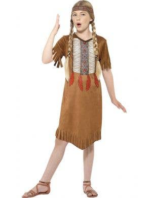 Girl's Native American Indian Fancy Dress Costume Front View