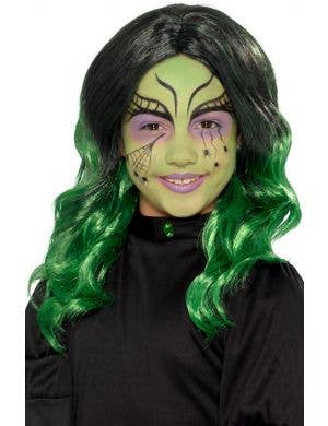 Wicked Witch Girls Curly Green Halloween Wig