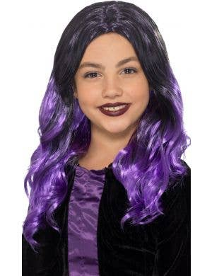 Witch Purple Girls Curly Halloween Costume Wig