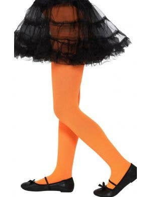 Full Length Girls Neon Orange Opaque Pantyhose