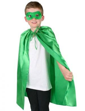 Super Hero Kid's Green Satin Cape and Mask Set