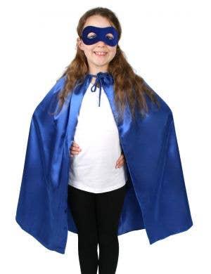 Children's Blue Superhero Satin Cape and Mask Set
