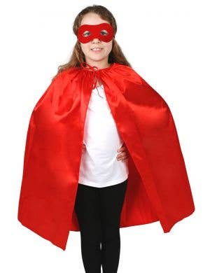Children's Red Superhero Satin Cape and Mask Set