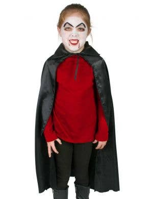 Kid's Black Satin Vampire Cape with Collar Accessory