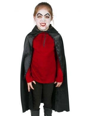 Kid's Black Satin Vampire Cape with Collar Accessory