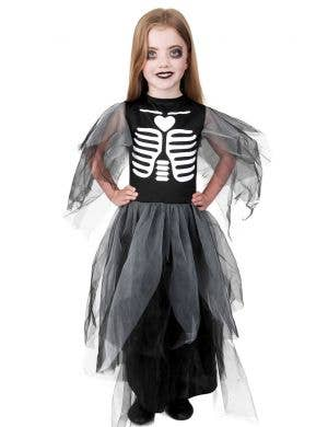 Grey Skeleton Dress Girls Halloween Costume