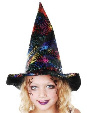 Plush Kids Spider Web Print Witch Costume Hat