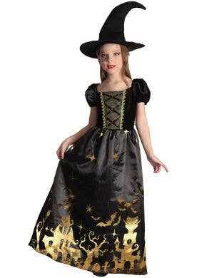 Haunted House Witch Girl's Black and Gold Costume