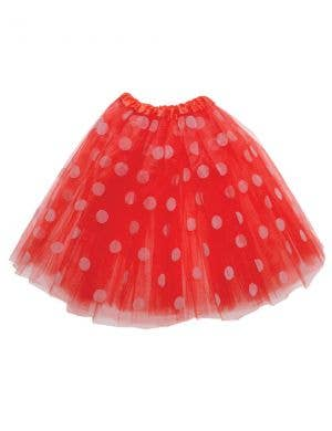 Polka Dot Girl's Red and White Organza Costume Tutu