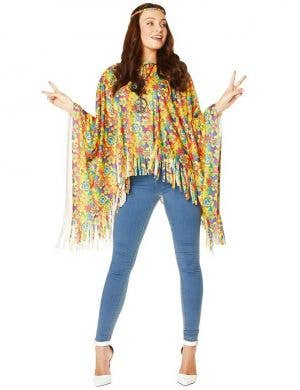 Flower Power 1960s Hippie Women's Costume Poncho