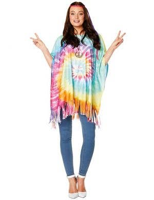 1960s Tie Dye Hippie Women's Costume Poncho and Headband