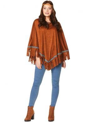 Wild West Women's Brown Costume Poncho and Headband