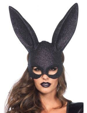 Women's Black Glitter Bunny Costume Mask