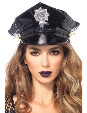Deluxe Women's Black Vinyl Cop Hat by Leg Avenue