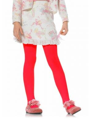 Girls Red Opaque Full Length Tights