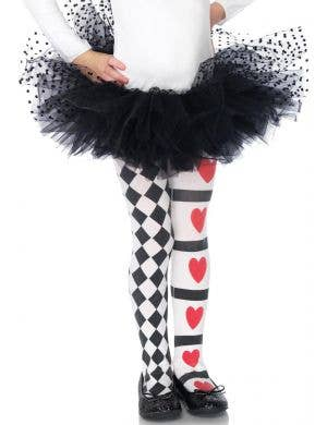 Girls Queen of Hearts Costume Tights by Leg Avenue