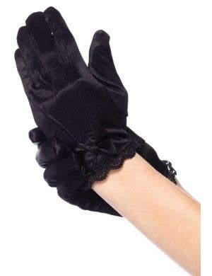 Kids Black Wrist Length Costume Gloves