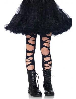 Girls Tattered Black Halloween Costume Stockings